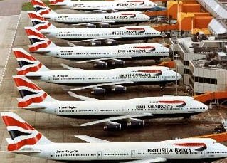 British Airways planes lineup