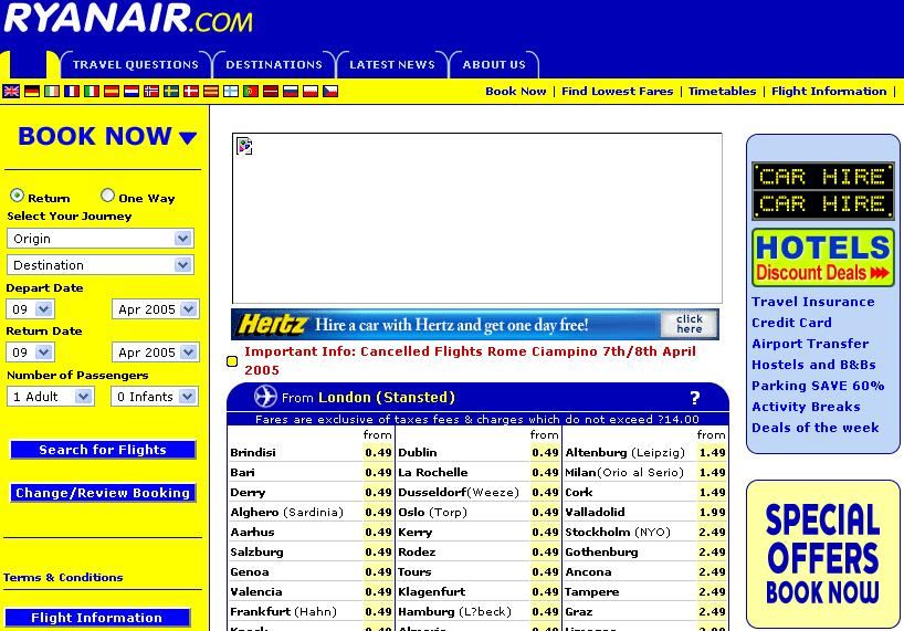 Ryanair website for Site for cheapest flights