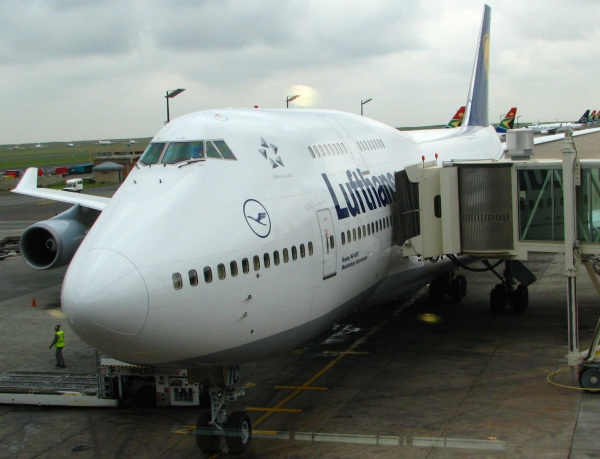 Lufthansa Boeing 747 parked at Johannesburg airport OR Tambo International